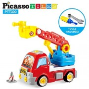 PicassoTiles DIY Construction Fire Truck Toy Car Set Dismantling Take-A-Part Toys Building Kit w/ Extendable 360 Rotating Ladder Safe Child-Size Large Parts