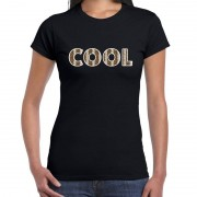 Bellatio Decorations Cool tekst t-shirt zwart dames slangenprint