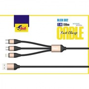 3 In 1 Multi Usb Adapter Charging Usb Cable For Iphone Micro and Type C Black (Length:48 inch)