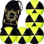 Flames N Games ASTRIX UV Thud Juggling Balls set of 5 (BLACK/YELLOW) Pro 6 Panel Leather Juggling Ball Set & Travel Bag!