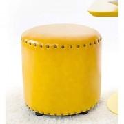 AZAZO Leatherette Round Ottoman in Yellow Colour