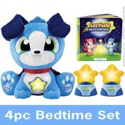 Starshine Watchdogs 4pc Set, Overcome Fear Of The Dark W/ This Talking Stuffed Animal Bedtime Toy W/ Remote Control Nightlights For Kids! (Available In Pink & Blue)