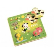 Puzzle bebe lemn Animale Domestice cu maner 3d Chacha Djeco