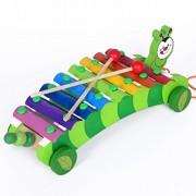 LittleHamlet Multi Colour Wooden Dragging Animal Xylophone