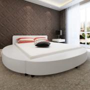 vidaXL Легло с матрак, 180x200 cм, кръгло, изкуствена кожа, бяло