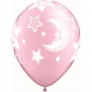 "Baloane latex 11"" inscriptionate Baby Moon & Stars Pearl Pink, Qualatex 24940"