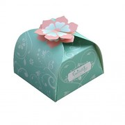 Moleya Pack Of 50 Pcs Diy Wedding Favor Candy Boxes Bridal Shower Favors Gifts Embossed Paper Boxes (3.15*3.15*1.97 Inch, Green)
