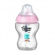Tommee Tippee Közelebb a természeteshez BPA-mentes cumisüveg 260ml színes világos rózsaszín