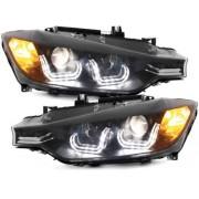 Set fari fanali proiettori anteriori TUNING sportivi BMW Serie3 F30 F31 berlina Touring 2012 2013 2014 06/2015 neri con luce diurna LED TUBELIGHT LTI