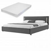 Двойно легло Corium®, Серия My.bed с вертикално LED-es осветление и матрак, 140x200cm, с подматрачна рамка, Изкуствена кожа/Текстил, Сив