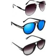 TheWhoop Aviator Sunglasses(Black, Blue, Violet)