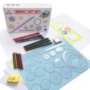 MC CHENMEI Spirograph Deluxe Set for Kids Classic Spiral Design Drawing with 5 Colour Pencil, Languages Guiding Book, Storage Bag