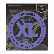 D'Addario ECG24-7 11-65 Chromes 7 cuerdas Flatwound acero inoxidable