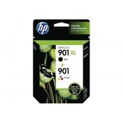HP Pack de ahorro de 2 cartuchos de tinta Original HP 901XL de alta capacidad Negro, HP 901 Tricolor para HP OfficeJet J4580, J4660, J4680