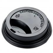 Capace Negre din Plastic pentru Pahare de Carton, 8-12 OZ, 100 Buc/Bax