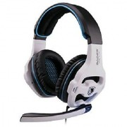 Andget Sades SA-810 3.5mm Stereo Headphone Gaming Headset with Microphone 40mm Driver Black and White