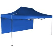 Gyorsan összecsukható sátor 3x4,5 m – acél, Kék, 1 oldalfal