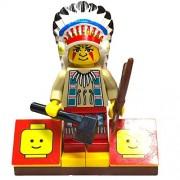 MinifigurePacks: Lego Western - Rapid River Village Indian Bundle (1) Chief Black Eagle Figure (1) Figure Display Base (2) Figure Accessory's (Axe & Bow with Arrow)