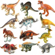 """Dinosaur Toys, RICOV Realistic Looking 7"""" Educational Dinosaurs Toys Playset for Boys and Toddler (T-rex, Triceratops, Velociraptor etc) - 12Pack"""