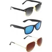 Zyaden Clubmaster, Wayfarer, Aviator Sunglasses(Black, Blue, Brown)