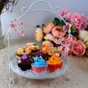 Suport candy bar metalic cu floricele roz
