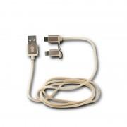 Ksix Cable USB a Micro USB/Lightning 1m Metalizado Dorado