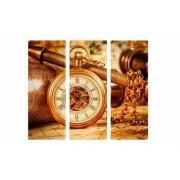Set Tablouri Multicanvas 3 Piese Ceas Antic 150 x 70 cm