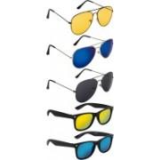 NuVew Aviator, Wayfarer Sunglasses(Black, Golden, Blue, Blue, Violet, Yellow)