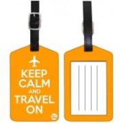 Nutcaseshop KEEP CALM TRAVEL ON -ORANGE Luggage Tag(Multicolor)
