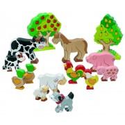 Fa játék állat készlet, háziállatok