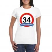 Shoppartners Verkeersbord 34 jaar t-shirt wit dames