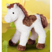 Pluche paarden knuffel bruin/wit 23 cm