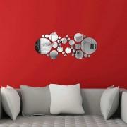 Circular moderno Espejo etiqueta de la pared de la etiqueta DIY Decoracion - Plata