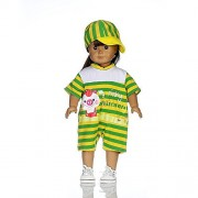 Kayla qin Baby Girl's Dolls Yellow and Green Stripes Rompers Suits with Sun Hat for 18 inches American Girl dolls Clothes/suits
