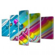 Tablou Canvas Premium Abstract Multicolor Dungi Multicolore Decoratiuni Moderne pentru Casa 120 x 225 cm