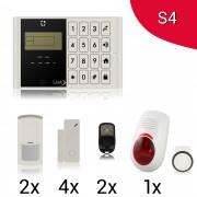KIT S4 M2C Antifurto Allarme Casa LKM Security Kit Wireless Senza Fili Controllabile da Cellulare con App Gratuita. Menù con Sintesi Vocale in Italiano e Manuale in Italiano Colore Bianco