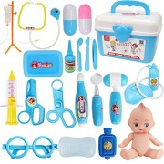 Xst Kids Toy Doctor Stopped Suitcase Medical Kit Cosplay Dentist Nurse Simulation Medicine Box With Doll Costume Stethoscope Gift - Blue, 21 Pieces