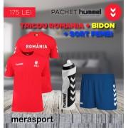 Pachet hummel, tricou Romania + bidon + sort femei albastru S S