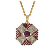 MissMister Gold plated Hexagon shape Red and White American Diamond chain Fashion pendant Women Stylish