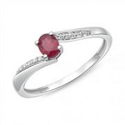 Unique 585er Weißgold Ring Rubin und 10 Diamanten