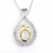 Zilveren Oneindigheidsteken met Gouden Moeder en Diamantjes, Mother & Child