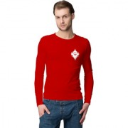 Cliths Men's Red Slim Fit Cotton Printed T-shirt/ Full Sleeve Tshirt