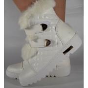 Cizme albe impermeabile cu blana de iepure (cod 164021)