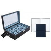 Cutie 10 ceasuri Bond Blue by Friedrich made in Germany si Note Pad Hugo Boss personalizabil