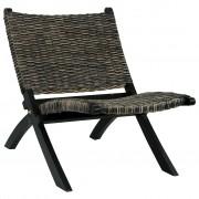 vidaXL Chaise de relaxation Noir Rotin naturel kubu et bois d'acajou