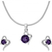 Mahi with Crystal Elements Violet Victorian Heart Rhodium Plated Pendant Set for Women NL1104141RVio