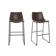 Miliboo Tabouret de bar vintage PU marron 73 cm (lot de 2) NEW ROCK