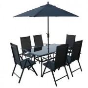 Záhradný nábytok SUNSET stůl 6 židlí slunečník zdarma
