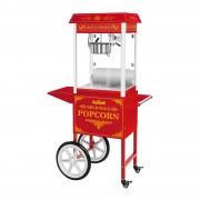Máquina de pipocas com carrinho vermelho