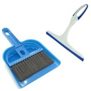Stylewell Combo Of Mini Dustpan Broom Set With Non Scratch Glass Wiper Cleaner For Cleaning Home Office Car Windows